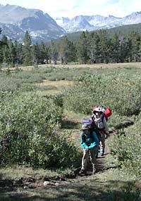 On the trail under Mount Lander