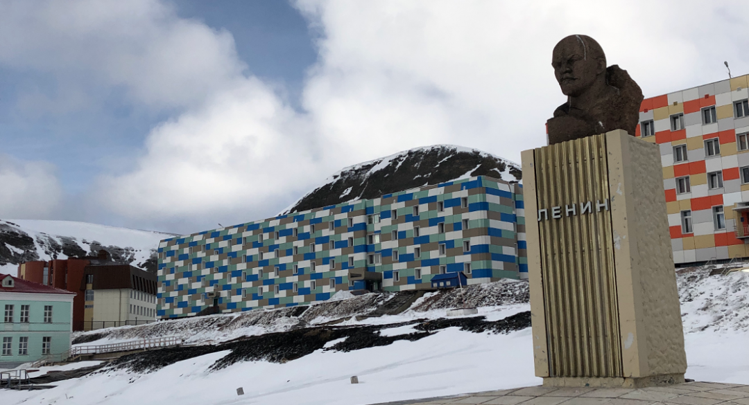 The bust of Lenin watches over a nearly deserted Svalbard village.