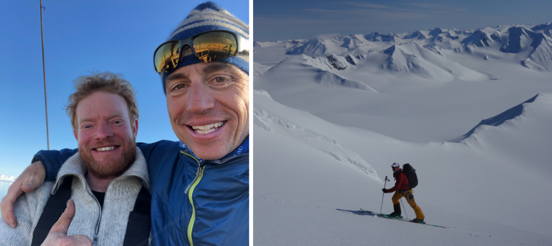 Left: The crazy Dutchman, Floris de Waard, captain of the Noorderlicht, and the author. Left: King Grant ascends Svalbard's sea of glaciers and summits.