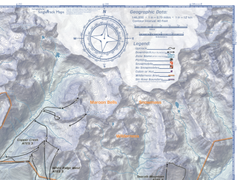 Maps include topographic detail, run lists, max slope angles and more.