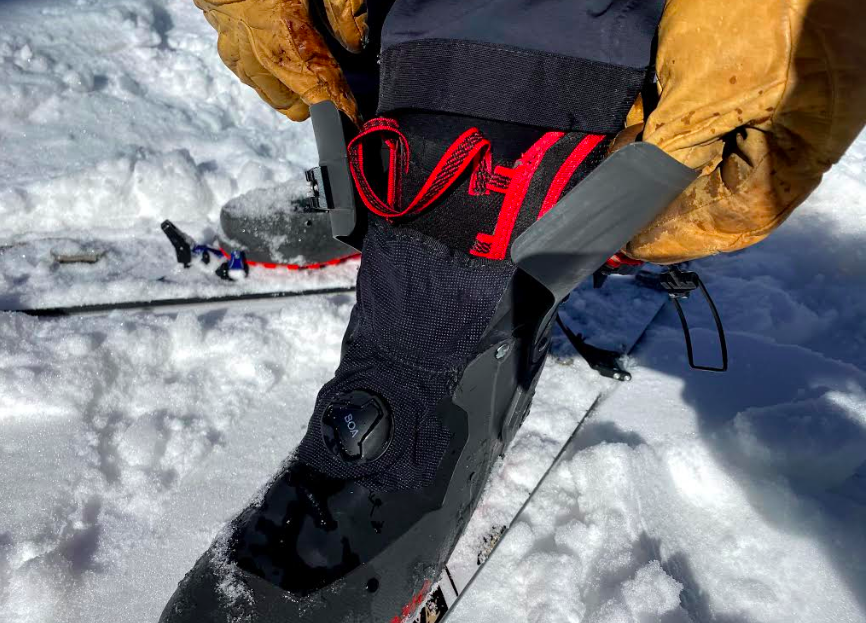 The Backland Pro has a simple cuff system as well as a short gaiter. Low profile and effective.