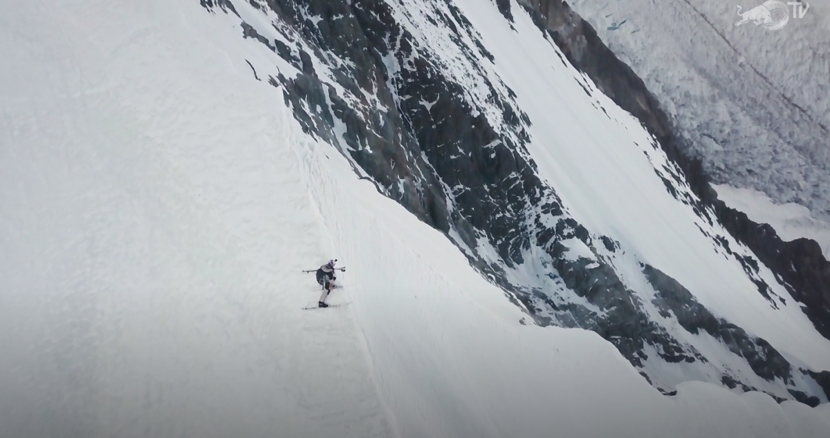 Andrzej Bargiel side slips down the slopes of K2. The Red Bull film, K2 The Impossible Descent tells the tale of his feat.