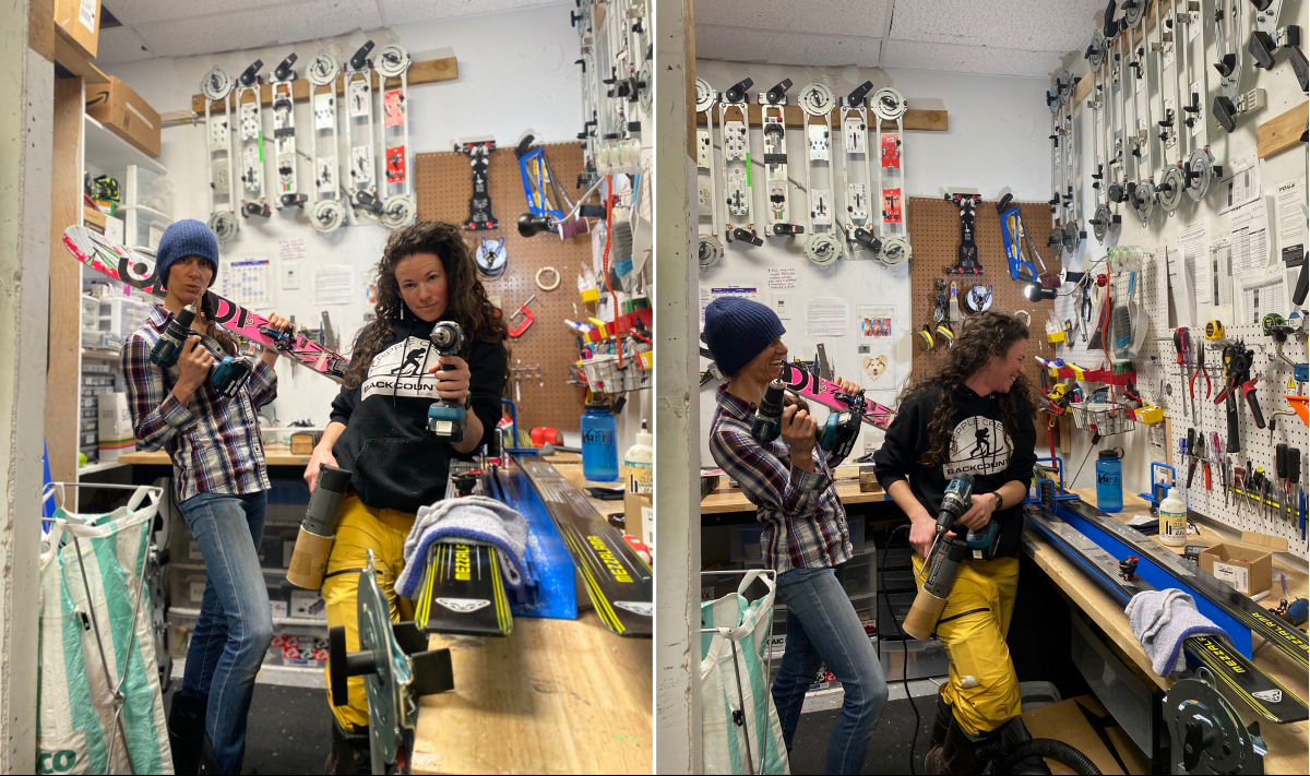 A good ski tech can take the job seriously. But not too seriously...Mary Harlan and Jewel Campbell getting the job done.