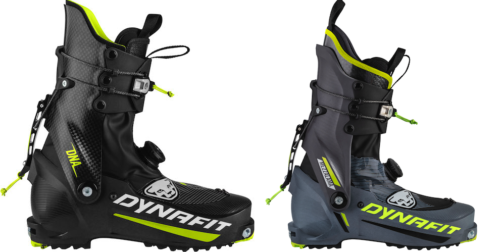 The DNA on the left (800 grams) and the Mezzalama on the right (865 grams). These are upgrades for the Dynafit race boot series. A Twistfit (similar to BOA) closure system secures the lower foot. A Racelock system acts as both the ski/walk mech and cuff closure.