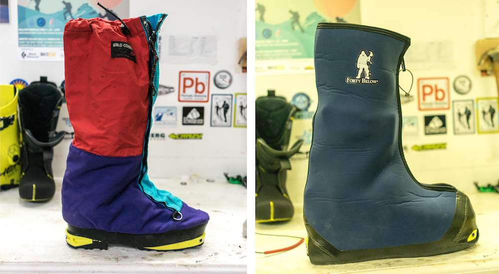 Left: The style points alone are worth it on the Wild Country Super Gaiters. Right: the aptly named Forty Below. Both picture show the liners on the Fischer Travers CS.