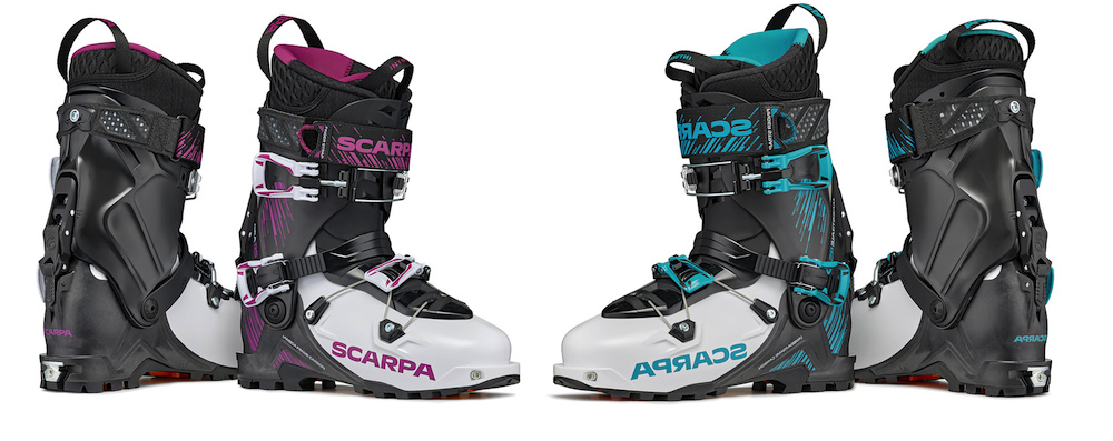 The magenta Gea RS and Aqua Maestrale RS feature new more sustainable materials, the Walk XT ski/walk mechanism, and fancy exoskeleton cuffs and shells to help transfer power through the boot