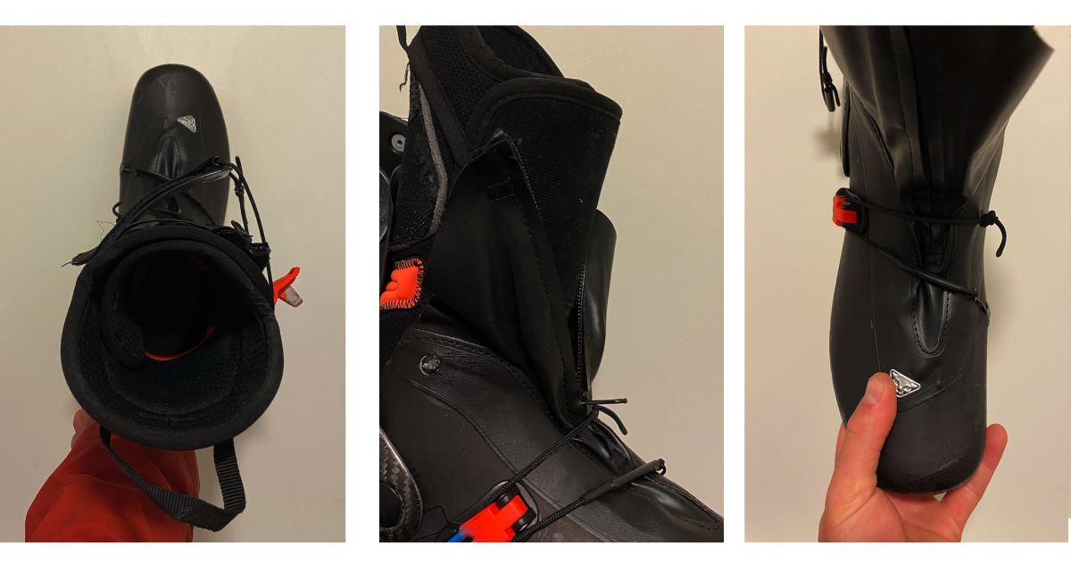 Left: A top view of the boot in walk mode with the Ultralock 1.0 buckle in a prime pole or tree branch snagging position. Middle: The bikini liner gaiter has lackluster elastic webbing to hold it up and insufficient coverage to keep out moisture. Right: The shell dyneema cord closure system is located on top of the foot where I find it to collapse the arch if appropriately buckled down