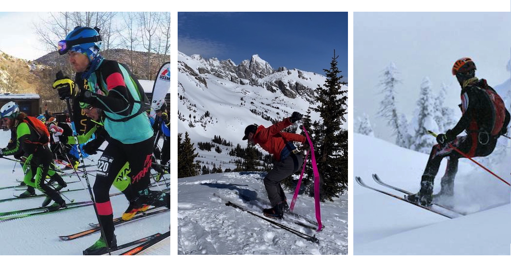 Left: Groomer touring at the beginning of a skimo race. Middle: A double skin rip (#doubleskinrip) executed in mediocre fashion. Right: Attack Turtle descent style performed flawlessly