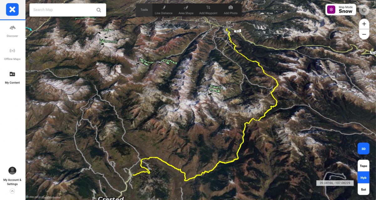 The course route, mapped here in the 3D setting of onX Backcountry.
