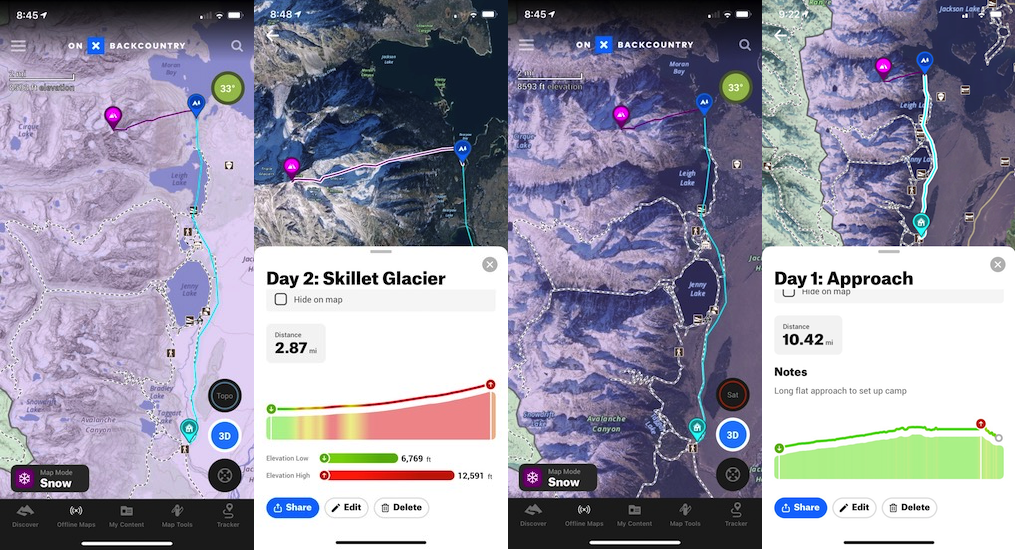 The OnX Backcountry 2D Topo map and our stats for Day 2 (left) and the 2D Satellite map  with our stats for Day 1 (right).
