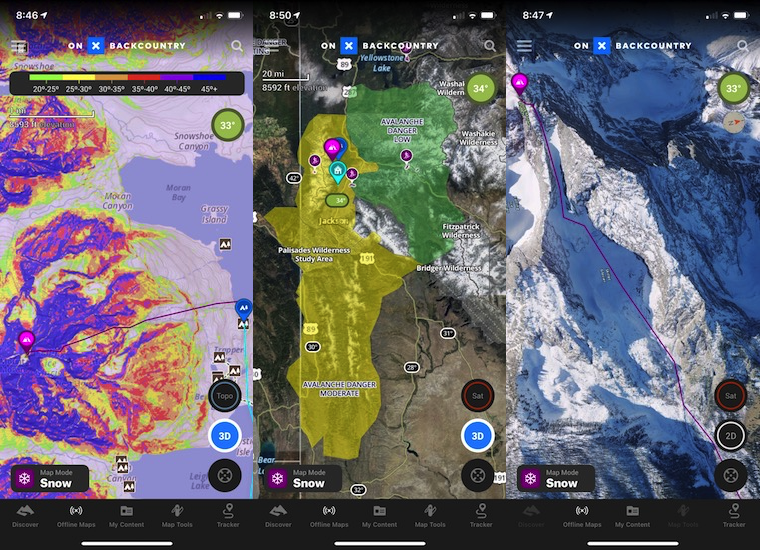 OnX has Snow Map Mode specific features: Slope Angle Shading (left), Avalanche Forecasts (center) and a 3D Satellite mode (right) with winter imagery. These all played helpful roles in planning out our ski on Mount Moran.