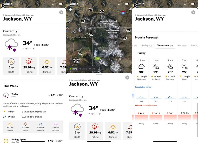 The OnX integrated weather conditions and forecast make point forecasting weather easy. There are current weather conditions for Jackson (left), weather overlays for temp and wind (center) and a detailed forecast (left).