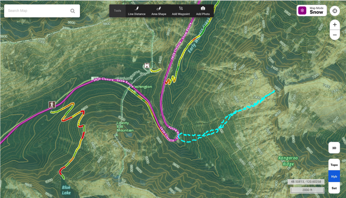 The route on Kangaroo Couloir as shown in the onX Backcountry app.