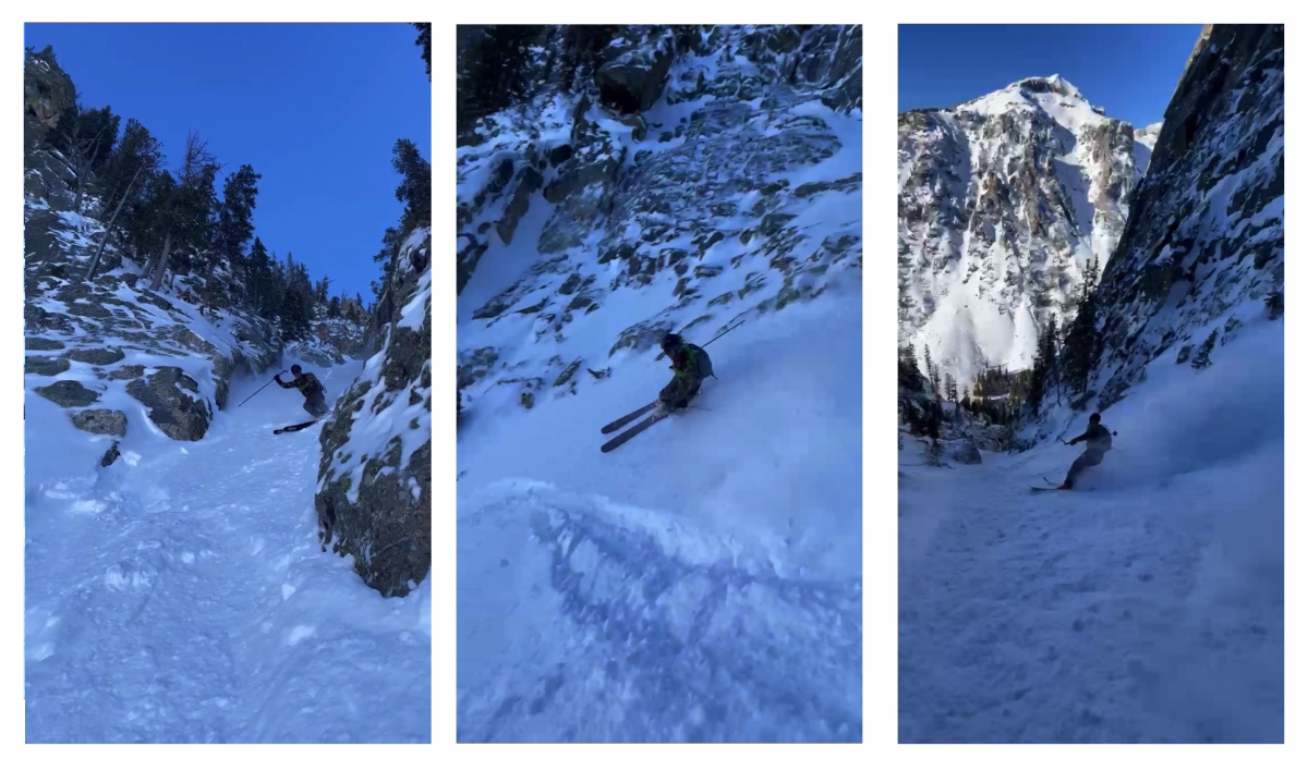 Here are the 112 RP's at work: slashing and carving in boot top powder. I was impressed with the dexterity and tight turning of these skis while in this narrow couloir.