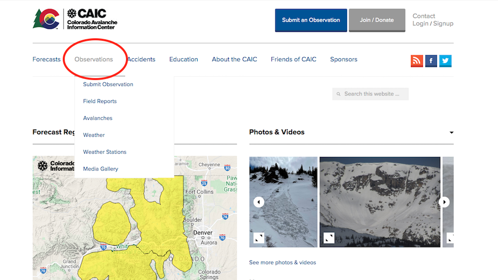 The Observations tab on CAIC's website is the place to learn the season's snowpack story