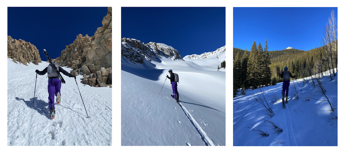 Our ascent from right to left: (1) Approaching Hayden Peak on the American Forks summer trail. (2) Reaching the east basin of Hayden Peak. It was classic, clear, calm, Colorado ski day weather. (3) Bootpacking up a south couloir to gain a subsummit of Hayden Peak
