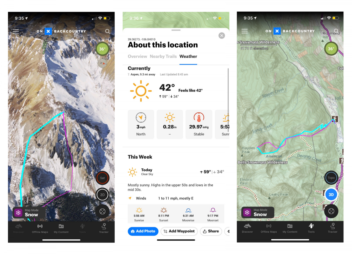 Here are similar trip planning screenshots from the Onx Backcountry app for our descent near Hayden Peak (from right to left): (1) Our ascent in blue included ~500' of trail hiking; our descent in pink was able to get us within five minutes of the car with skis on! (2) The point forecasting is one of OnX Backcountry's best features. (3) This 3D Sat image has a bit of snow on it to help better visualize winter terrain.
