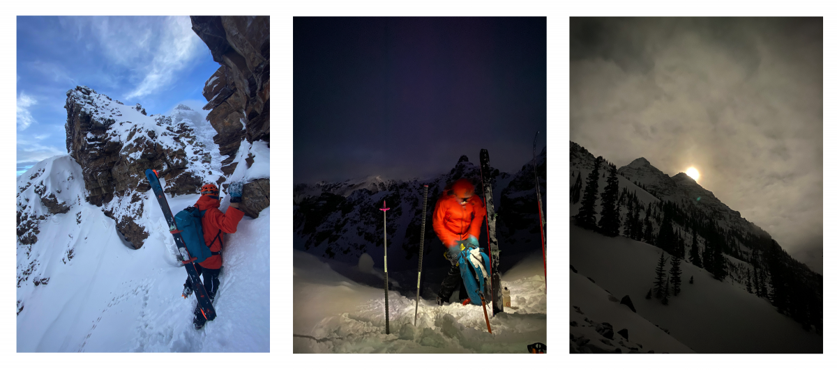 The first half of our approach from right to left: (1) A long exposure midnight photo of our first glimpse at Pyramid Peak. The full moon created some strong spooky energy. (2) Aidan prepped to bootpack near the top of Banana Bowl just before dawn. (3) Aidan stepped out of Banana Bowl and onto the summit ridge