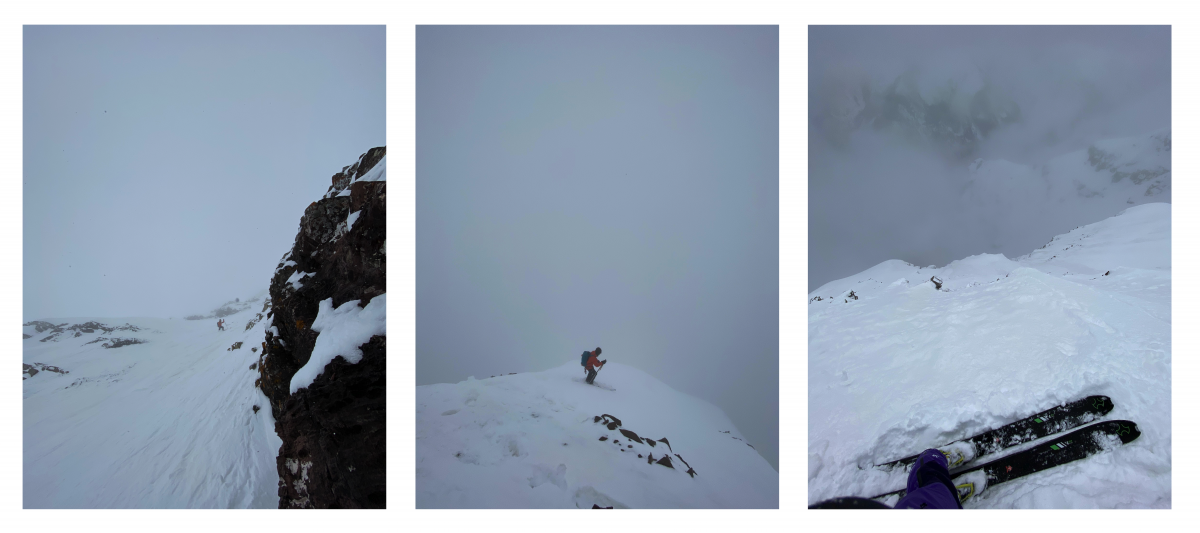 Our descent from right to left: (1) I stopped to take a photo on the summit pitch. It was comically steep. (2) Aidan quested into the sea of clouds. (3) Aidan skied down the mid-face, almost breaking through the low-visibility cloud layer.