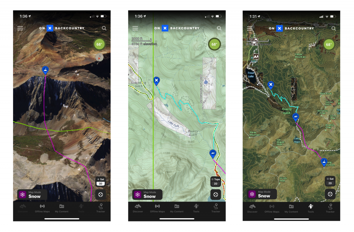 Trip planning as seen on the Onx Backcountry App (from left to right): (1) A 3D Sat view of Rolling Mountain shows the complexity of the north face. A winter overlay and way to manipulate 3D view would be helpful additions to the OnX app (2) The 2D Topo view shows private land in white and National Forest in green. Our approach is the blue line. This overlay is great to avoid unknowingly trespassing while on a tour (3) Our approach to camp is in blue and ascent of Rolling Mountain is in pink.